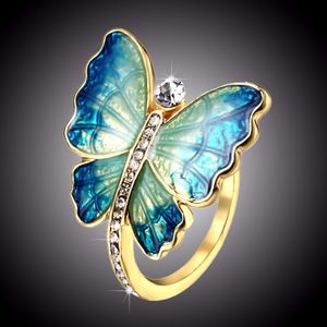 Blue Green Butterfly Wings Pave Crystal Gold Ring
